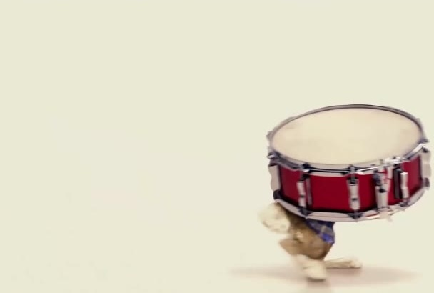 make this bunny rabbit play drums with your logo and texts