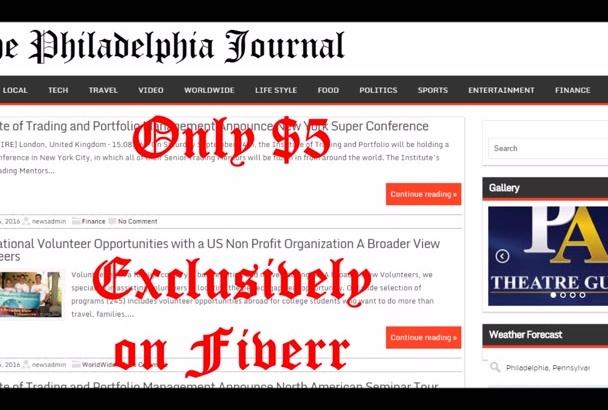 publish article on Philadelphia News blog
