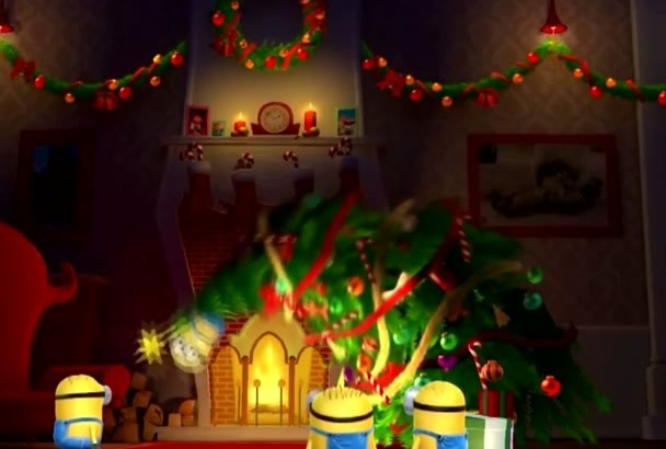 put your logo and text minions CHRISTMAS animated video