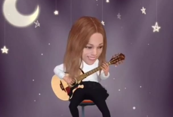 do your face in video 3D cartoon animated style GUITARIST
