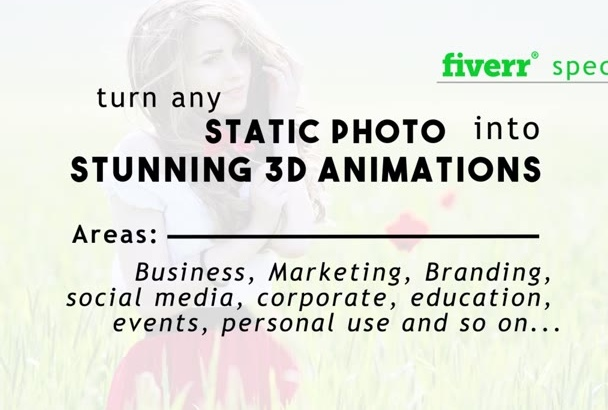 turn still images into amazing 3D animations for business or marketing