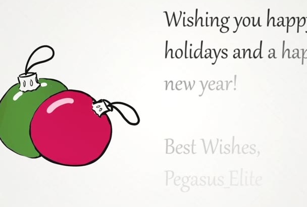 create a holiday e card with an animated ornaments drawing