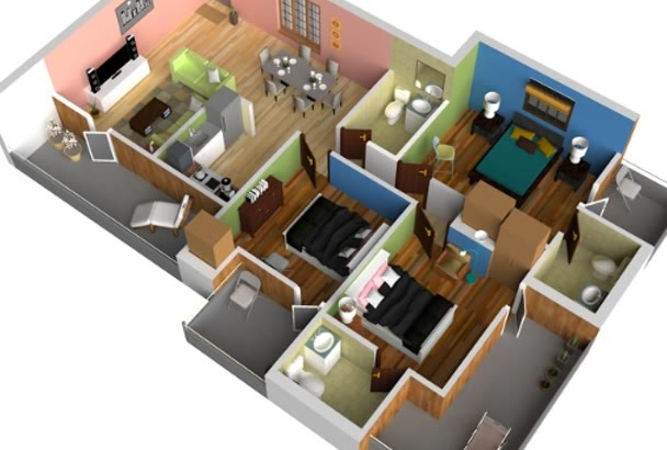 create 3D floor plan by SketchUp in 2 hours