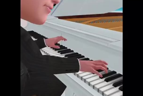 do your face in video 3D cartoon animated style player PIANO