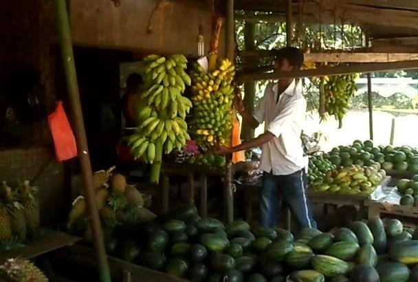 create  a video in Sri Lankan  banana fruit shop