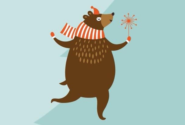 create a cute animals Christmas animation