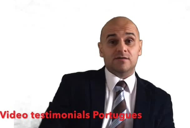 record any video testimonial or review in portuguese