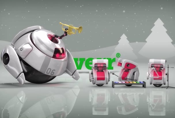 design 2 Christmas and New Year 3d robots videos