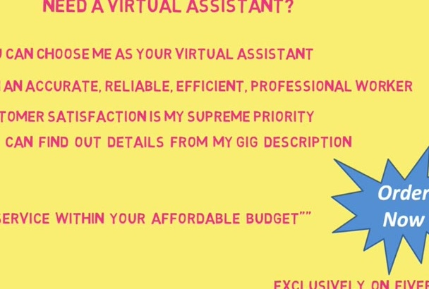 work as your  virtual assistant for 3 hours