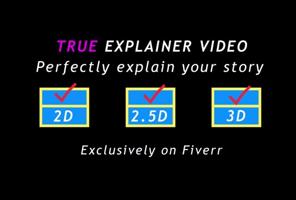 create TRUE Explainer Video in 2D 3D or mixed