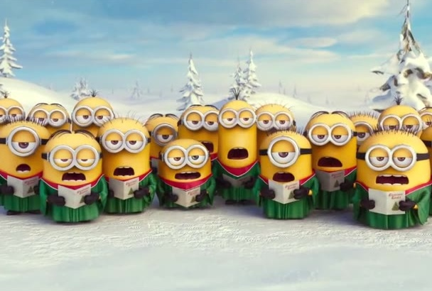 put your logo, banner and photo in a funny minions video for christmas at
