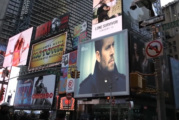 add logo text banner on newyork time square billboard