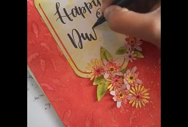 paint brush lettered messages with illustrations