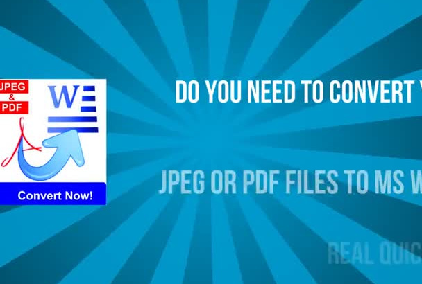 convert your pdf and jpeg files to MS Word