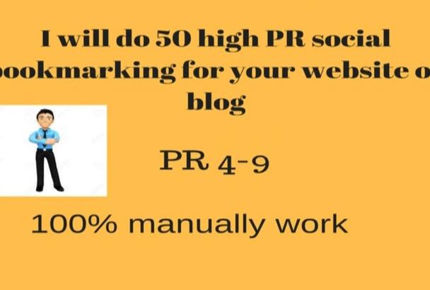 do 50 high PR social bookmarking