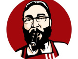draw you in KFC red,black,white caricature pop arts in vector