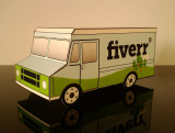 make a papercraft step van or UPS style delivery van with your logo on it