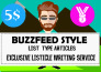 write Viral Buzzfeed Style List type Articles