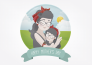 illustrate cute portrait for Mothers Day