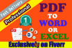 convert PDF to Word, Excel, Text or Image