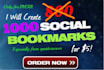 create 1000 Social Bookmarks for you