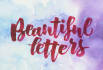 make watercolor brush lettering by hand