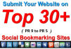 do 30 pr9 to pr5 dofollow bookmarking backlink in your site