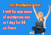fix wordpress problems and issue in 24 hours