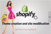 create modify design and develop shopify site