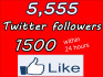 give you 1500 to 1700 Likes To Any Page And 5,555 Twitter Followers Only Real No Eggs within 24 hours