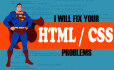 fix any WordPress, Blogger, HTML or css problems