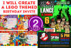 create a LEGO themed birthday invite