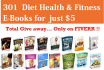 send you 301 eBooks with MRR on Diet Health and Fitness