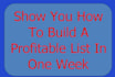 show You How To Build A Profitable List In One Week