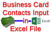 20 business cards contacts manually input in excel spreadsheet