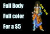 draw your character fully colored