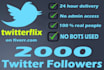 add 2000 High Quality Twitter followers in less than 24 hours