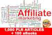 send over 1000 Affiliate Marketing Plr Article and 100 IM eBooks
