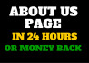 write Your About Us Page In 24 Hours, MoneyBack Guarantee