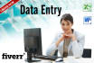 do any DATA Entry work for you