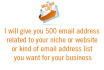 give you 500 email list for your niche  from any country