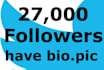 increasing your followers with 27,000 followers from USA
