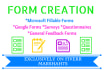 design and create 5 pages of fillable Microsoft Word Forms