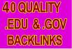 create 40 contextual Edu Gov High Quality Google PandaPenguin friendly Backlink