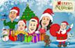 draw Merry Christmas Caricature Cartoon Greetings
