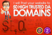 post your website to 50 high trust DA domains