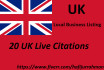 create 20 UK Live Citations for Local Business Listing