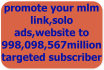 promote any mlm link,solo ads,website to 998,098,567billion targeted subscribers