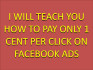 teach You How To Pay Only 1 Cent Per Click on Facebook Ads