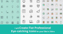 create flat professional eye catching icons for your Site in 24hrs